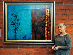 Celebrated artist Victoria Crowe with her work  at the opening of her first major UK exhibition 'Beyond Likeness' that has just opened at the Scottish National Portrait Gallery in Edinburgh.<br /> <br /> © Dave Johnston/ EEm