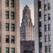 Power and Light Building in the middle between two closer buildings - downtown Kansas City Missouri.