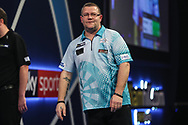Steve West reacts to a missed double to save the match during the World Darts Championships 2018 at Alexandra Palace, London, United Kingdom on 27 December 2018.