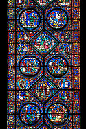 Medieval stained glass Window of the Gothic Cathedral of Chartres, France - dedicated to the life of Eustace . A UNESCO World Heritage Site. .<br /> <br /> Visit our MEDIEVAL ART PHOTO COLLECTIONS for more   photos  to download or buy as prints https://funkystock.photoshelter.com/gallery-collection/Medieval-Middle-Ages-Art-Artefacts-Antiquities-Pictures-Images-of/C0000YpKXiAHnG2k