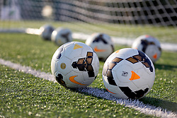 06 May 2016. New Orleans, Louisiana.<br /> New Orleans Jesters. Soccer balls at the early morning training session for the NPSL team as they prepare for the opening game of the season at Pan American Stadium.<br /> Photo; Charlie Varley/varleypix.com