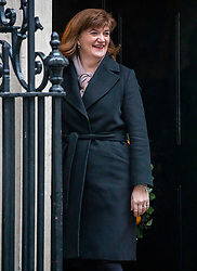 © Licensed to London News Pictures. 17/12/2019. London, UK. Nicky Morgan who has been given a life peerage and retained her position as Culture Secretary after standing down before the election arrives at Downing Street for the first Cabinet meeting with Prime Minister Boris Johnson. Photo credit: Alex Lentati/LNP
