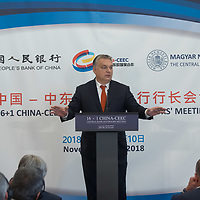 Hungarian Prime Minister Viktor Orban delivers his speech during the opening ceremony of the 16+1 China-CEEC Central Bank Governors' Meeting in Budapest, Hungary on Nov. 9, 2018. ATTILA VOLGYI