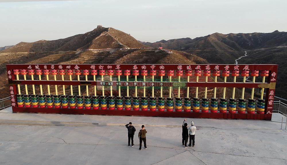 November 1, 2018 - Handan, Handan, China - Handan, CHINA-The 5-meter-tall abacus made of 210 tyres can be seen in Handan, north China's Hebei Province. (Credit Image: © SIPA Asia via ZUMA Wire)