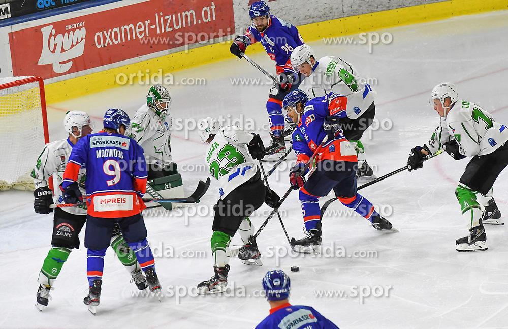 17.09.2021, Tiroler Wasserkraft Arena, Innsbruck, AUT, ICE, HC TWK Innsbruck Die Haie vs HK SZ Olimpija, Grunddurchgang, 1. Runde, im Bild v.l. Jaka Judge (HK SZ Olimpija Ljubljana), Martin Ulmer (HC TIWAG Innsbruck) // during the bet-at-home ICE Hockey League Basic round 1th round match between HC TWK Innsbruck Die Haie and HK SZ Olimpija at the Tiroler Wasserkraft Arena in Innsbruck, Austria on 2021/09/17. EXPA Pictures © 2021, PhotoCredit: EXPA/ Erich Spiess