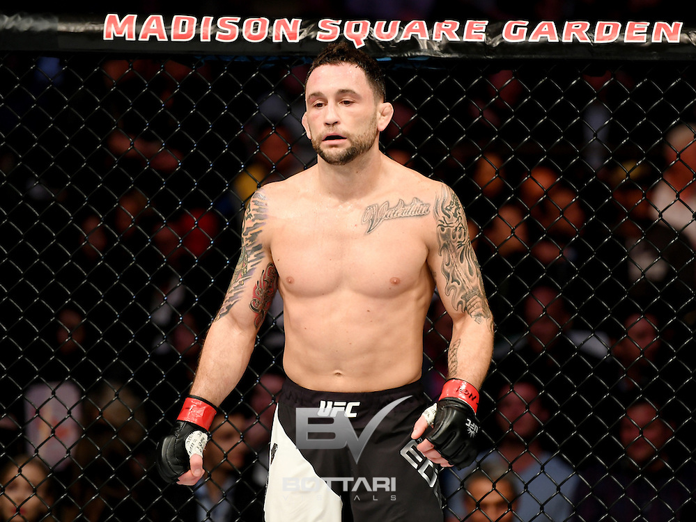 NEW YORK, NY - NOVEMBER 12:  Frankie Edgar of the United States fights against Jeremy Stephens of the United States (not pictured) in their featherweight bout during the UFC 205 event at Madison Square Garden on November 12, 2016 in New York City.  (Photo by Jeff Bottari/Zuffa LLC/Zuffa LLC via Getty Images)