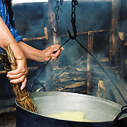 A shepherd's wife stirring sheep's milk in a cauldron over the fire to make cheese at a sheepfold, Romania. Whereas in many countries sheep are reared for wool and meat, in Romania these are seen as by-products and the real purpose of the flock is to produce branza or cheese.