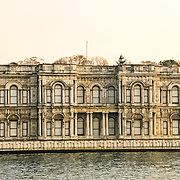 An stately old, rundown building on the Asian bank of the Bosphorus Strait in Istanbul.