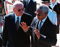 March 10, 1998 - Cape Town, South Africa - NELSON MANDELA, the South African President talks to his guest, German President Dr ROMAN HERZOG, as they walk in the garden in front of Presidential offices in Cape Town. German President is in a four day official visit to South Africa. (Credit Image: © Sasa Kralj/JiwaFoto/ZUMAPRESS.com)
