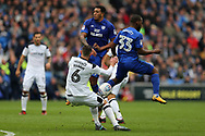 Nathaniel Mendez -Laing © and Junior Hoilett (33) of Cardiff city find their way blocked by Derby county capt Richard Keogh. EFL Skybet championship match, Cardiff city v Derby County at the Cardiff city stadium in Cardiff, South Wales on Saturday 30th September 2017.<br /> pic by Andrew Orchard, Andrew Orchard sports photography.