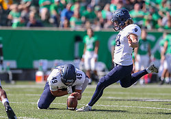 Oct 9, 2021; Huntington, West Virginia, USA; Old Dominion Monarchs place kicker Nick Rice (98) kicks a field goal during the second quarter against the Marshall Thundering Herd at Joan C. Edwards Stadium. Mandatory Credit: Ben Queen-USA TODAY Sports
