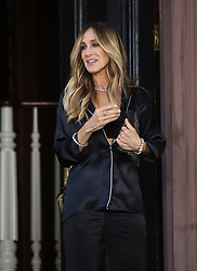 June 16 2018, New York City<br /> <br /> Actress Sarah Jessica Parker shoots a commercial for Italian Lingerie company Intimissimi in the West Village on June 16 2018 in New York City