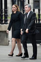 © London News Pictures.17/04/2013. London, UK.  Former British Prime Minister Gordon Brown and his wife Sarah Brown arriving at St Paul's Cathedral in London for The Funeral of former British Prime Minister, Margaret Thatcher on April 17, 2013. Photo credit : Ben Cawthra/LNP