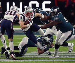 February 4, 2018 - Minneapolis, MN, USA - New England Patriots running back Rex Burkhead (34) runs through a tackle in the fourth quarter of Super Bowl LII Sunday, Feb. 4, 2018 in Minneapolis, Minn. The Eagles won, 41-33. (Credit Image: © Jeff Wheeler/TNS via ZUMA Wire)