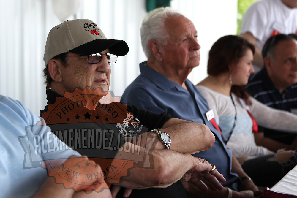Trainer and promoter Tony Graziano crosses his arms during the 23rd Annual International Boxing Hall of Fame Induction ceremony at the International Boxing Hall of Fame on Sunday, June 10, 2012 in Canastota, NY. (AP Photo/Alex Menendez)