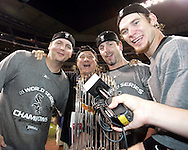 HOUSTON - OCTOBER 26:  A.J. Pierzynksi. Aaron Rowand and Joe Crede celebrate with singer Steven Perry after Game 4 of the 2005 World Series against the Houston Astros at Minute Maid Park on October 26, 2005 in Chicago, Illinois.  The White Sox defeated the Astros 1-0.