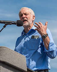 Jeremy Corbyn the Labour Party leader speaking at a leadership campaign rally at Derby Cathedral<br /> <br /> (c) John Baguley | Edinburgh Elite media