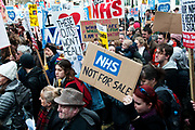 Tens of thousands of health workers, activists and members of the public protested against austerity and cuts in the NHS National Health Service on March 4th 2017 in London, United Kingdom.