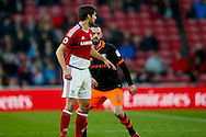 Sheffield Wednesday forward Steven Fletcher (6) looks to get ahead of Middlesbrough defender George Friend (3)  during the The FA Cup match between Middlesbrough and Sheffield Wednesday at the Riverside Stadium, Middlesbrough, England on 8 January 2017. Photo by Simon Davies.