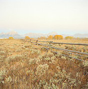 Countryside outside Jackson, Wyoming, with view to the Teton National Forest, USA