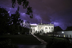 Lightning illuminates the clouds of a thunderstorm behind the White House in Washington, DC., on May 3, 2020.<br /> Photo by Oliver Contreras/Pool/ABACAPRESS.COM
