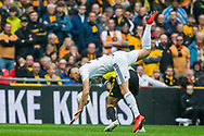 Romaine Saiss (Wolverhampton Wanderers) during the FA Cup semi-final match between Watford and Wolverhampton Wanderers at Wembley Stadium in London, England on 7 April 2019.