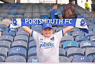 A portsmouth fan before kick off during the EFL Sky Bet League 1 match between Portsmouth and Fleetwood Town at Fratton Park, Portsmouth, England on 16 September 2017. Photo by Adam Rivers.