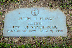31 August 2017:   Veterans graves in Park Hill Cemetery in eastern McLean County.<br /> <br /> John H Slava Illinois  Private US Marine Corps March 30 1888  Nov 27 1958