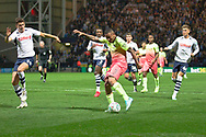 Manchester City forward Gabriel Jesus prepares too shot at goal during the EFL Cup match between Preston North End and Manchester City at Deepdale, Preston, England on 24 September 2019.