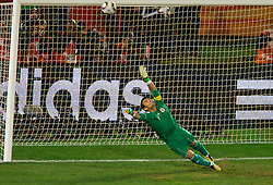 Goalkeeper of Paraguay Justo Villar during the penalty shots when Yuichi Komano of Japan missed the shot after 0-0 in overtime during the 2010 FIFA World Cup South Africa Round of Sixteen football match between Paraguay and Japan on June 29, 2010 at Loftus Versfeld Stadium in Tshwane/Pretoria. (Photo by Vid Ponikvar / Sportida)