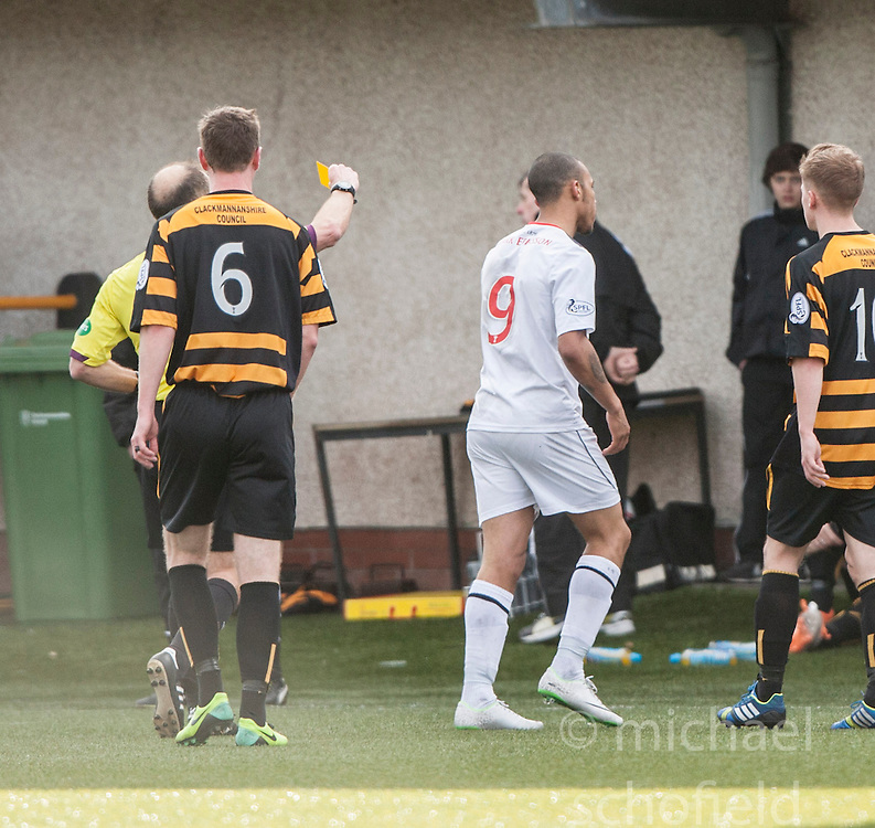 Falkirk's Phil Roberts gets a second yellow card from ref George Salmond.<br /> Alloa Athletic 3 v 0 Falkirk, Scottish Championship game played today at Alloa Athletic's home ground, Recreation Park.<br /> © Michael Schofield.