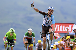 July 13, 2017 - Peyragudes, France - Peyragudes, France - July 13 : BARDET Romain of AG2R La Mondiale, RAN Rigoberto of Cannondale-Drapac Pro Cycling Team, ARU Fabio of Astana Pro Team during stage 12 of the 104th edition of the 2017 Tour de France cycling race, a stage of 214.5 kms between Pau and Peyragudes on July 13, 2017 in Peyragudes, France, 13/07/2017 (Credit Image: © Panoramic via ZUMA Press)