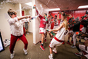 BLOOMINGTON, IN - MARCH 31, 2018 - Indiana Hoosiers Head Coach Teri Moren and team locker room celebration during the WNIT Championship  game against the Virginia Tech Hokies and the Indiana Hoosiers at Simon Skjodt Assembly Hall in Bloomington, IN. Photo By Craig Bisacre/Indiana Athletics