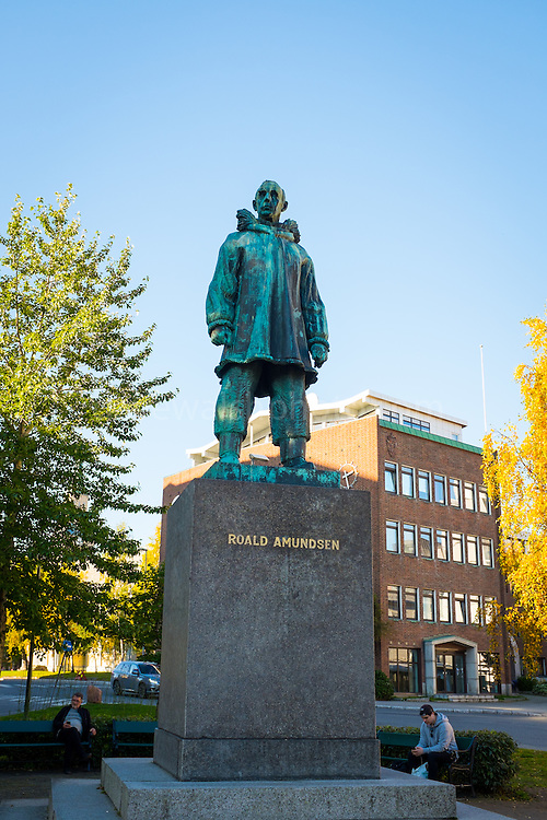 Statue of Norwegian Polar Explorer Roald Amundsen at Road Amundsen Plass in Tromso, Norway