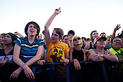 Fans cheer as Tegan and Sara perform at Suburbia Fest in Plano, Texas on May 4, 2014.