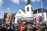 Image licensed to Lloyd Images<br /> The Extreme Sailing Series 2015. Act4 - Cardiff. UK<br /> The Wave Muscat, SAP Extreme Sailing Team and Red Bull Sailing Team celebrate pole positions in Act 4 of the Extreme Sailing Series 2015, Cardiff.<br /> Credit: Lloyd Images