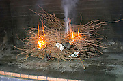 Fire from vine branches sarments for barbequing in the restaurant. Chateau de Jau, Cases de Pene, Roussillon, France