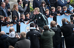 Manchester City's Kevin De Bruyne arrives for the UEFA Champions League, Quarter Final at the Etihad Stadium, Manchester.