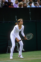 Anne White wears a white, one-piece, lycra body suit during her match against Pam Shriver