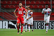 Mariano DIAZ MEJIA (Olympique Lyonnais) headed the ball to score a goal against Hamari TRAORE (STADE RENNAIS FOOTBALL CLUB) and Abdoulaye DIALLO (STADE RENNAIS FOOTBALL CLUB), celebration with Nabil FEKIR (Olympique Lyonnais), Bertrand TRAORE (Olympique Lyonnais), Ramy BENSEBAINI (STADE RENNAIS FOOTBALL CLUB) during the French championship L1 football match between Rennes v Lyon, on August 11, 2017 at Roazhon Park stadium in Rennes, France - Photo Stephane Allaman / ProSportsImages / DPPI