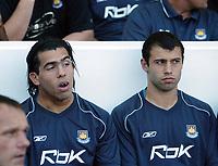 Photo: Chris Ratcliffe.<br /> West Ham United v Aston Villa. The Barclays Premiership. 10/09/2006.<br /> Carlos Tevez (L) and Javier Mascherano of West Ham.