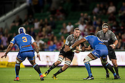 Luke Romano of the BNZ Crusaders looks to take a tackle during the Canterbury Crusaders v the Western Force Super Rugby Match. Nib Stadium, Perth, Western Australia, 8th April 2016. Copyright Image: Daniel Carson / www.photosport.nz