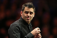 Ronnie O'Sullivan (Eng) looking at the scoreboard. Ronnie O'Sullivan (Eng) v Neil Robertson (Aus), Quarter-Final match at the Dafabet Masters Snooker 2017, at Alexandra Palace in London on Thursday 19th January 2017.<br /> pic by John Patrick Fletcher, Andrew Orchard sports photography.