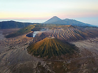 Aerial view of Mount Bromo, active volcano in Indonesia at sunrise.