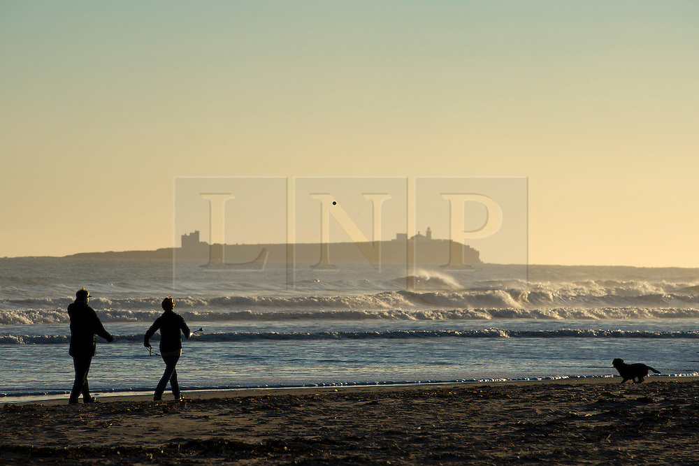 © Licensed to London News Pictures. 07/10/2012. Bamburgh, UK.  Dog walkers at sunrise on Bamburgh beach in Northumberland, UK on October 7, 2012. Photo credit : Ben Cawthra/LNP