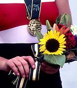 Atlanta, USA. GER W4X. Gold Medalist  on the awards dock after winning the final. Kathrin BORON, Kerstin KOEPPEN, Katrin RUTSCHOW and Jana RAU - SORGERS. 1996 Olympic Rowing Regatta Lake Lanier, Georgia [Mandatory Credit Peter Spurrier/ Intersport Images]