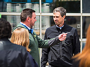 20 MAY 2019 - DAVENPORT, IOWA: PAUL KURTZFELD, left, co-owner of Great River Brewery, talks to BETO O'ROURKE about the flood that swept through his business in Davenport. O'Rourke, running to be the 2020 Democratic nominee for the US Presidency, has made climate change a central part of his campaign. He toured flood damage in Davenport Monday. The Mississippi River flooded through downtown Davenport on April 30 and much of downtown is still recovering from the flood.       PHOTO BY JACK KURTZ