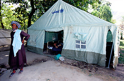 FAIZABAD PROVINCIAL HOSPITAL, 27 July 2005...A UNICEF tent is used as an extension of Faizabad-Hospital patients' room.....According to United Nations Population Fund, Afghanistan has among the world?s highest rates of maternal mortality, and Badakhshan has the highest rates ever recorded anywhere in the world, with one mother dying in every 15 births...Lack of medical infrastructures is one of the primary causes of maternal mortality.