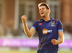 Gloucestershire's David Payne celebrates the winning wicket - Mandatory byline: Robbie Stephenson/JMP - 07966 386802 - 19/09/2015 - Cricket - Lord's Cricket Ground - London, England - Gloucestershire CCC v Surrey CCC - Royal London One-Day Cup Final