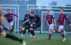 Arbroath's Ryan Wallace scoring their second goal. half time : Stenhousemuir 1 v 2 Arbroath, Scottish Football League Division One play12/1/2019 at Ochilview Park.